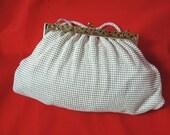 Whiting and Davis mesh purse 50s cream alumesh evening clutch handbag