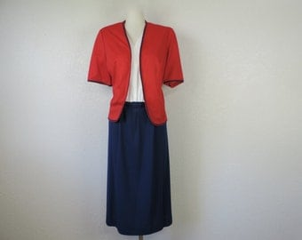 vintage 70s nautical dress navy + red crossover secretary dress plus size XL new old stock