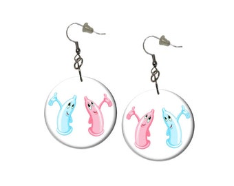 Condom Earrings Birth Control Earrings Conversation Starter Earrings Happy Cute Fun Pink Blue