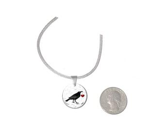 Raven Heart Pendant  Raven Heart  Necklace Any Graphic Pendant Necklace Raven Heart