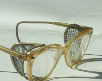 Vintage Horn Rimmed Industrial Safety Glasses with Mesh Sides / Steampunk