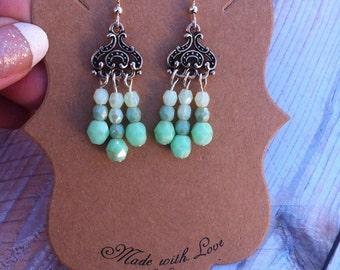 SALE Mint Glass Chandelier Earrings, Fancy silver, pastel, Pale green, under 10, dangle