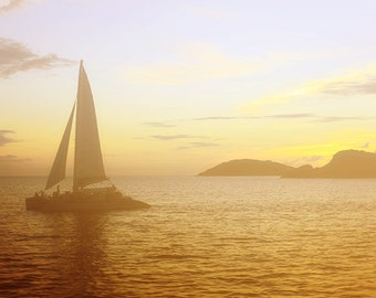 "Sail Boat Photograph ""Sunset Sail"" Fine Art Sunset Picture. Sea Ocean Photograph. Orange, Yellow, Island. St. John, USVI."