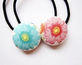 Button Ponytail Holders - Blue and Pink Flowers - Hair Accessories / Ties and Elastics