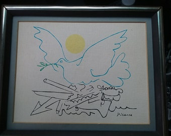 1949 PICASSO Blue Bird Of Peace With Yellow Sun Signed 10 Inches By 8 Inches Wood Frame Print