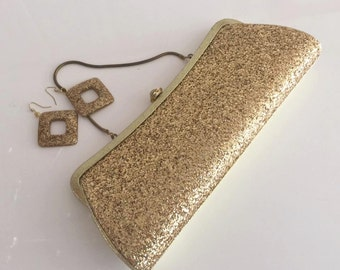 Glitter-ific Vintage 1950's Gold Glitter Clutch with Tuck in Handle -- Old Hollywood