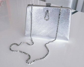 Vintage 50's 60's Era Silver Evening Bag with Rhinestone Shoulder Strap -- Glam