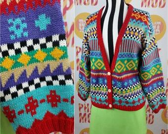 Super Bold 90s Multicolor Geometric Stripe Shapes Sweater Cardigan - COOL!!