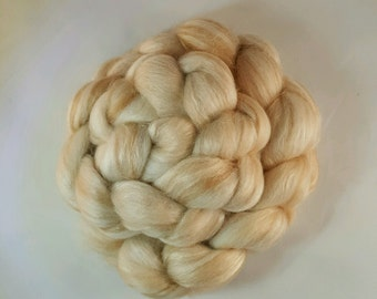 Baby Camel & Tussah Silk  50/50 Undyed Luxury Spinning  Top Roving Fiber 2 ounces, Natural