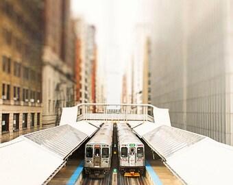Chicago Loop Photograph, CTA trains, Train Wall Art, Boys Room Art, Orange Green Line, Teal, abstract architecture, Chicago skyline  decor