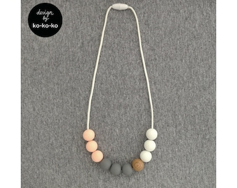 Silicone Necklace for Kids (pink+grey+white)