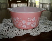 Pyrex 1 qt  Casserole Bowl no Lid pink gooseberry 473 Shabby Cottage Retro Farmhouse decor on Sale