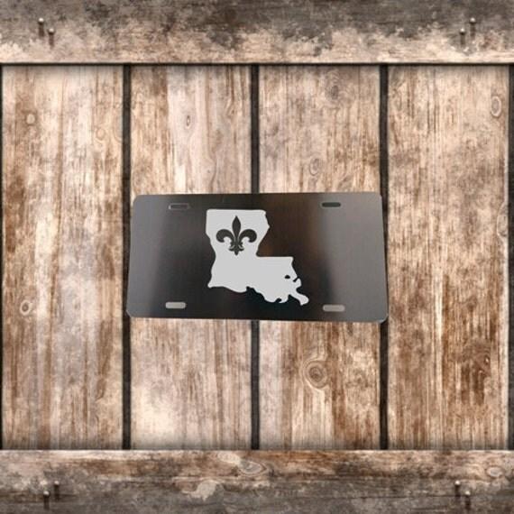 License Plate - Black with Chrome Fleur De Lis Louisiana