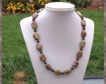 Jasper and Green Fossil Necklace
