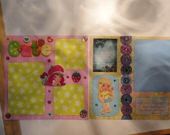 Strawberry Shortcake - set of 2 - 8 x 8 scrapbook pages