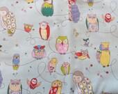 Alexander Henry Spotted Owl Fabric, light blue, 2 yards