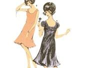 60s High Waisted Plisse Cocktail Dress Pattern Burda 27053 B34