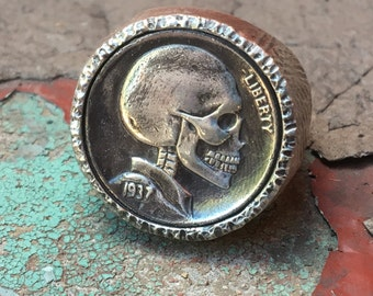 Sterling Silver FULL SKULL Buffalo Indian Skeleton Leech Skull Hobo Nickel-