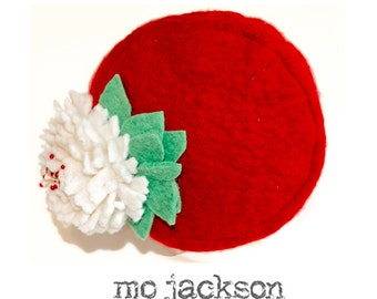 newborn baby hat / mo one of a kind red felt chapeau