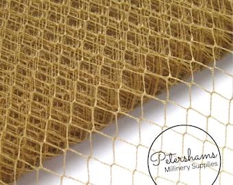 Vintage English 1960's / 1970's Birdcage Veil Millinery Fabric, 1 yard - Dark Honey