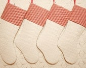 """Antique Coverlet """"Cat Tracks in the Snow"""" Stocking w/ Provenance, Antique Homespun Cuffs -- 4 Matching Stockings Available"""