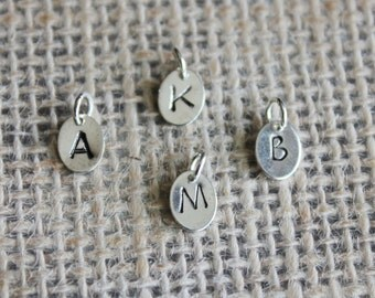 Add a Hand-stamped Initial Charm to Any Pendant Necklace (Small), Customized Letter Jewelry, Personalized Initial Charm