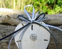 Sand Dollar Beach Wedding Favor Ornament-ELEGANCE-Holiday Ornaments, Coastal Blue Ornament, Beach Home Decor, Nautical Christmas Ornaments