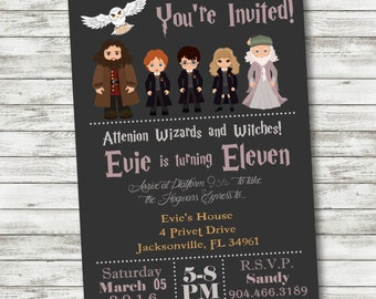 Harry Potter Birthday Invitation - Harry Potter Party Supplies - PRINTABLE Invitation - Digital Files - Harry Ron Hermione Hedwig Dumbledore
