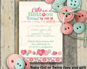 DIGITAL DIY Cute as a Button Baby Shower Invitations- For BOY or Girl or Gender Unknown