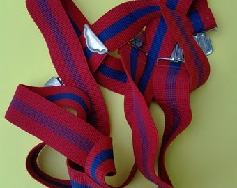 Vintage Suspenders in Red and Blue with Silver Tone Hardware, 80s Costume, 80s Suspenders