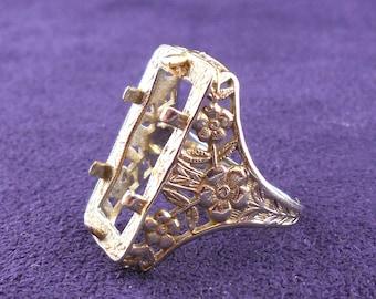 Vintage White Gold Filigree Ring Mounting Sz 6 Rectangular