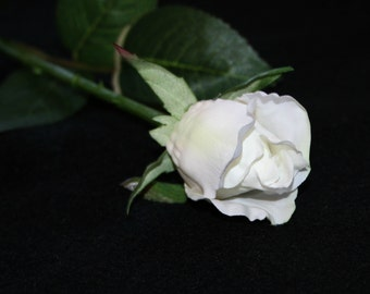 White Gina Rose Bud - Barely Blooming - Artificial Flowers, Silk Roses - PRE-ORDER