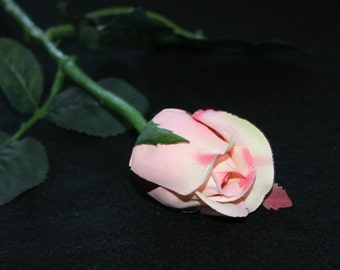 12 Salmon Pink Princess Rose Buds - Barely Blooming - Artificial Flowers, Silk Roses - PRE-ORDER
