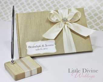 Wedding Guest Book and Pen set Champagne and Ivory  Customizable in your Colors