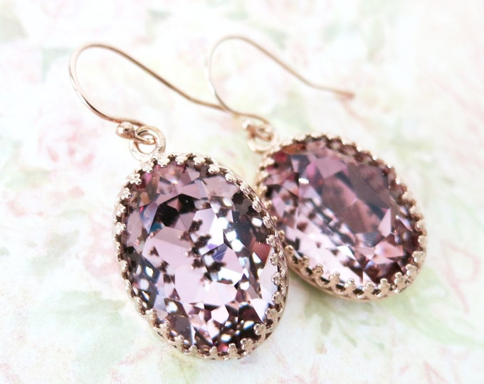 Rose Gold Antique Pink Earrings ROSE GOLD FILLED Ear wires, Swarovski Crystal Oval Bridal Bridesmaid Wedding Vintage Earrings
