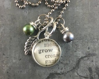 Mini Dictionary Word Necklace - GROW