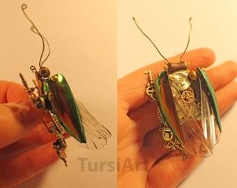 Steampunk Beetle Brooch Watch Movement & Real Beetle Elytra Insect Wings Clockwork Beetle Pin Gears Clockpunk Jewelry Steampunk Bug Tursi