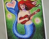Mermaid Heart Art musical ukulele print of painting mermaids whimsical fantasy by Sue Halstenberg