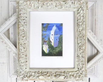 "Cathedral Painting, Architectural Art, Landscape, Chapel, Church, Blue Art- Giclee Print of Fine Art Oil Painting- ""Cathedral"""