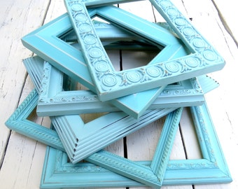 Aqua Beach Frames, Farmhouse Decor, Old Frames, Ornate Frames, Chic Cottage Decor, Shabby Wall Decor, Hand Painted Distressed Blue Frames