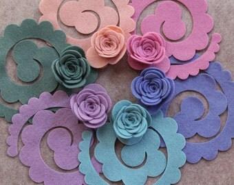 Watercolors - Large 3D Rolled Roses - 12 Die Cut Felt Flowers - Unassembled Rosettes