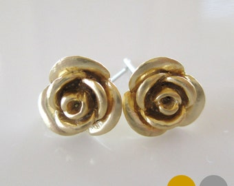 Rose Stud Earrings-Gold Rose Stud Earrings- Silver Rose Stud Earrings- Flower Stud Earrings- EGS-SD9
