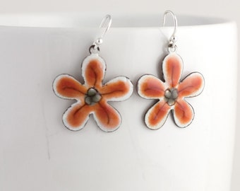 Dainty Red and Gray Flower Enamel Earrings