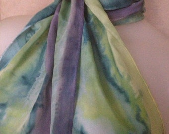 Soft Spring Rain silk crepe scarf hand painted original