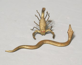 Vintage Miniature Brass Scorpion and Snake Figurines / Collectible Tiny Wild Animal Reptile Metal Statue Jewelry Making Altered Art Diorama