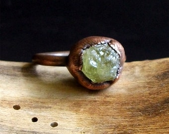 Raw Stone Rings Garnet Rough Stone Jewelry Copper Raw Crystal Gemstone January Birthstone Ring Size 6.5