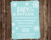Winter Baby Shower Invitations, Baby Boy, Aqua, White, Blue, Snow, Set of 10 Printed Cards, FREE Shipping, LISWA, Little Snowflake Aqua
