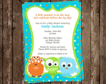 Little Monster Baby Shower Invitations, Baby Monster, Boy Baby Shower Invite, Printed Invites, Set of 10 Cards, Polka Dots, FREE Shipping