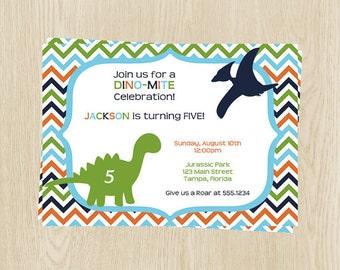 Birthday Party Invitations, Boys, Dinosaurs, Roar, Jurassic, Blue, Green, Orange, Chevron, Set of 10 Printed Cards, DINOT, DinoMite Birthday