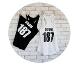 Roller Derby Scrimmage Set, Cotton Tank Top With Custom Name and Number, Sports Jersey, Black and White, Athlete, Roller Skater, Soft Shirt